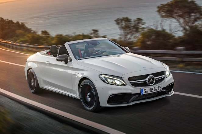 2017 Mercedes AMG C63 S Cabriolet front three quarters in motion 02