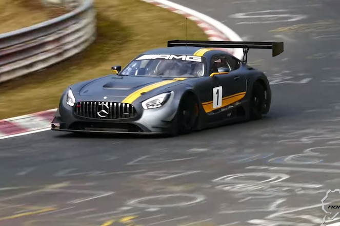 Mercedes AMG GT3 racer at the Ring video screen shot