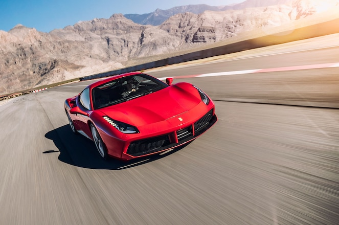 Ferrari-488-GTB-front-view-in-motion-03-85