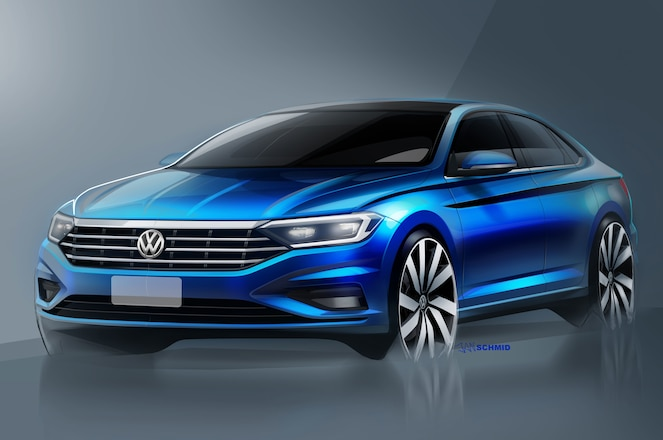 2019 Volkswagen Jetta front three quarters sketch