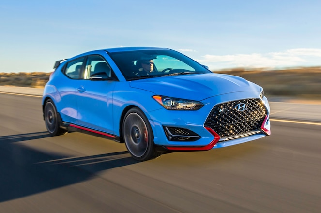 2019 Hyundai Veloster N in motion front side view