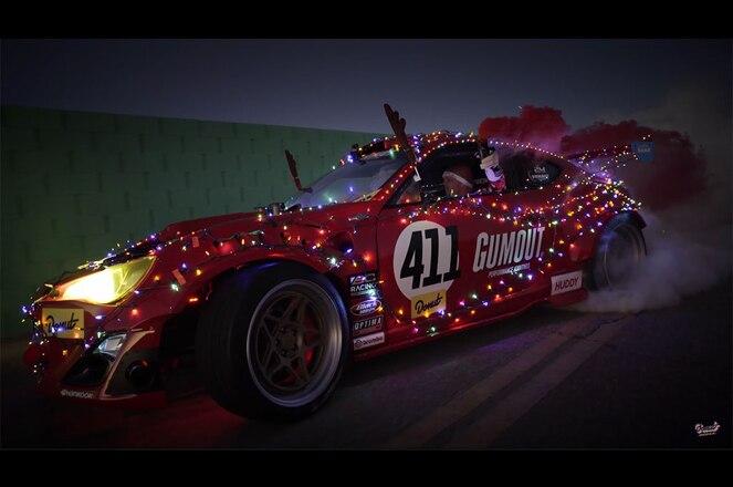 Donut Media Ferrari Scion FR S with holiday decorations