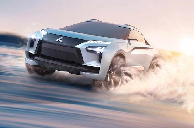 Mitsubishi e Evolution concept driving close crop
