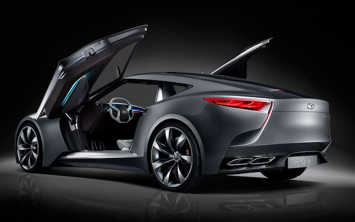 Hyundai-HND-9-Coupe-concept-rear-three-quarters-view-doors-open