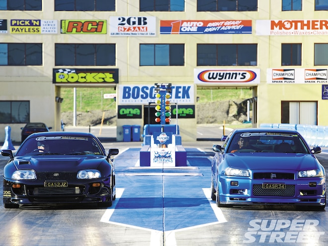 1994 Toyota Supra TT And 2000 Nissan Skyline GT-R - Black And Blue