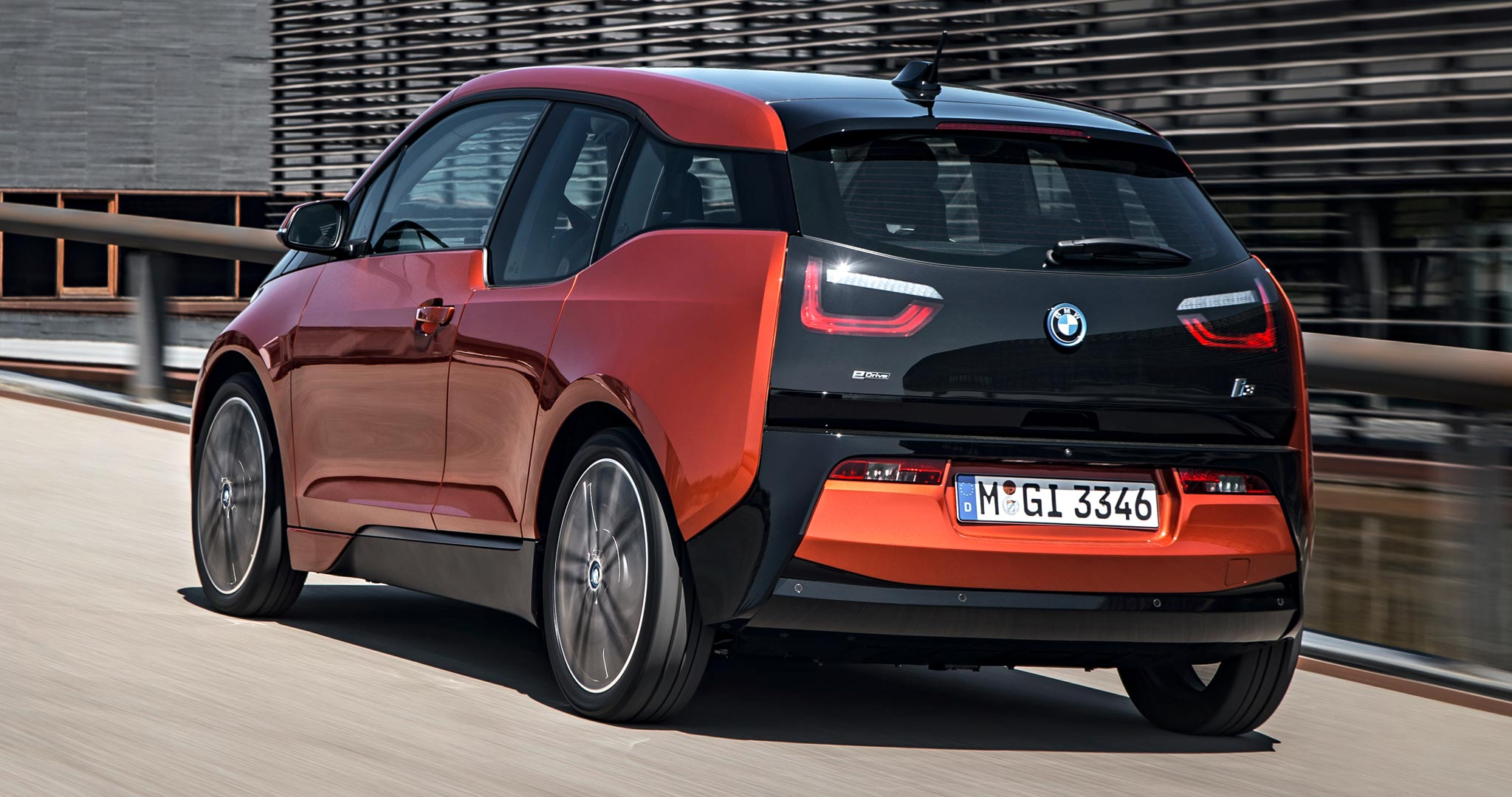 2014 BMW i3 rear three quarter in motion