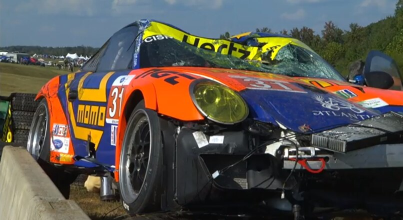 Porsche Goes Airborne   BIG CRASH   VIR   ALMS   Tequila Patron   ESPN   Sports Cars   Racing   Youtube 013